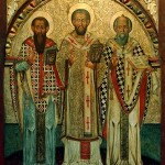 Tři velcí biskupové a theologové: Basil Veliký, Jan Zlatoústý, Řehoř Theolog...