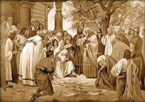 Český kníže Bořivoj přijímá křest od apoštolů Slovanů sv. Cyrila a Methoda...